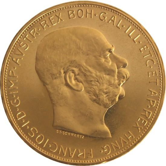 Foto der Vorderseite einer österreichischen Kronen Goldmünze