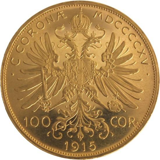 Foto der Rückseite einer österreichischen Kronen Goldmünze