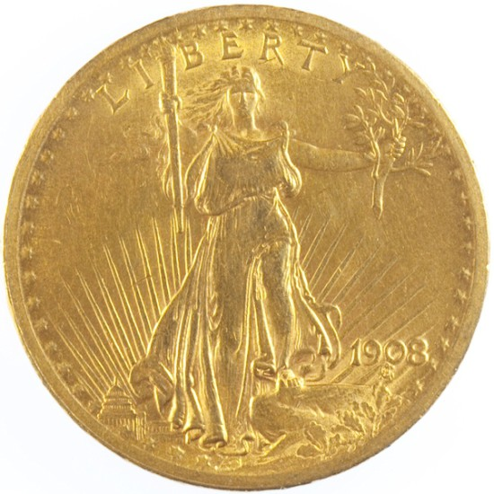 Foto der Vorderseite einer 20 Dollar Liberty Statue Goldmünze