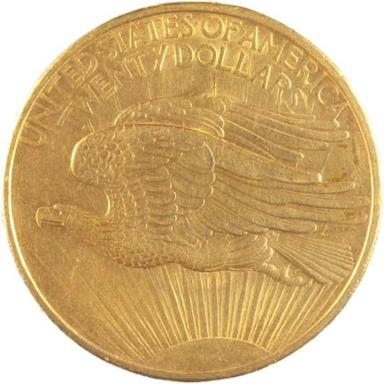 Foto der Rückseite einer 20 Dollar Liberty Statue Goldmünze