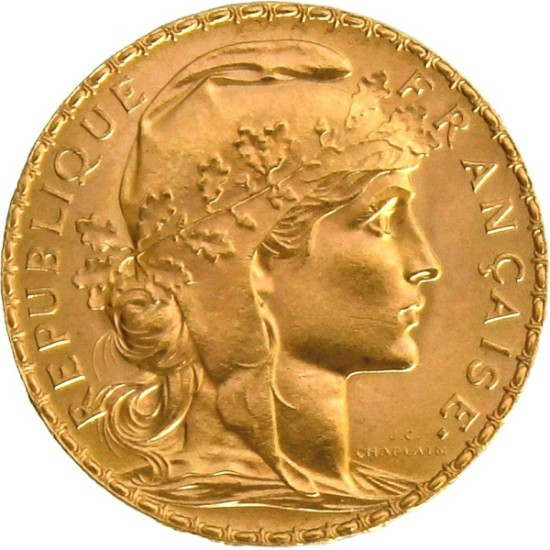 Foto der Vorderseite einer 20 Francs Gold Marianne Goldmünze