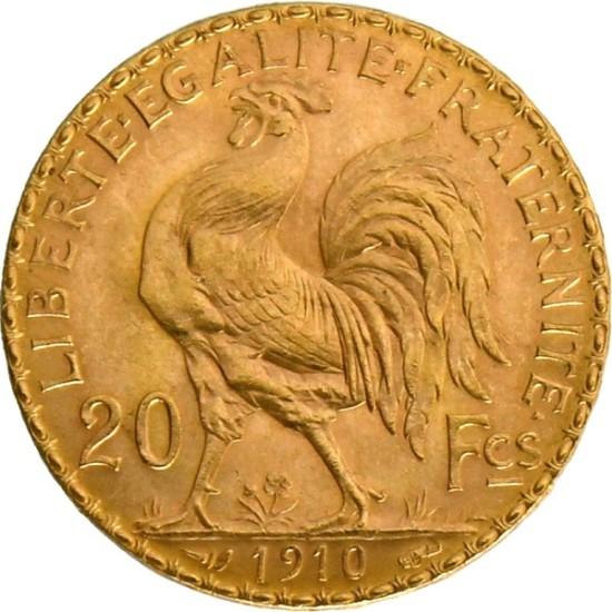 Foto der Rückseite einer 20 Francs Gold Marianne Goldmünze