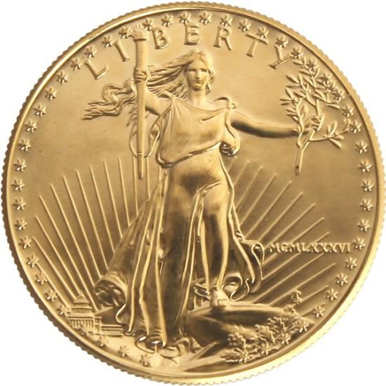 Foto der Vorderseite einer American Eagle Goldmünze
