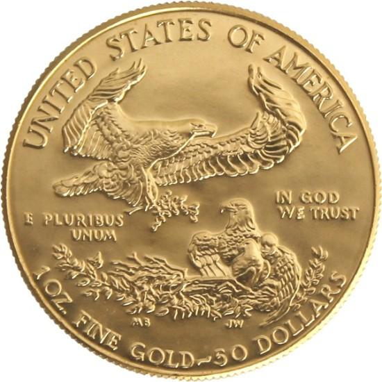 Foto der Rückseite einer American Eagle Goldmünze