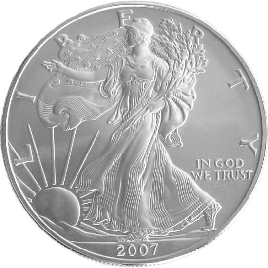 Foto der Vorderseite einer American Eagle Silbermünze