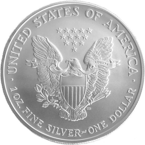 Foto der Rückseite einer American Eagle Silbermünze