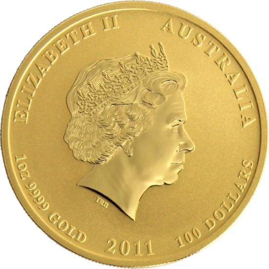 Foto der Rückseite einer Australian Lunar II Goldmünze