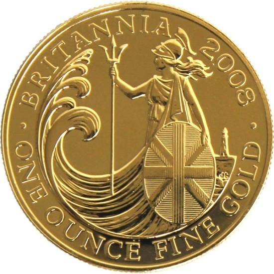 Foto der Vorderseite einer Britannia Goldmünze