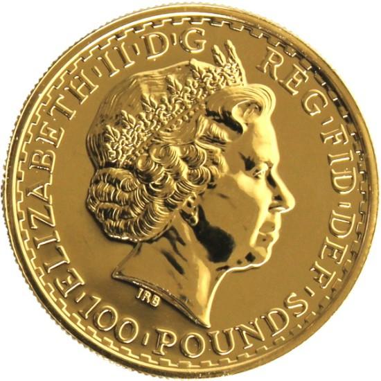 Foto der Rückseite einer Britannia Goldmünze
