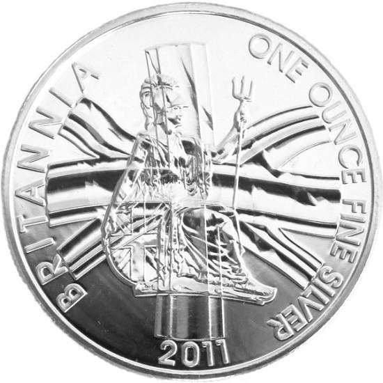 Foto der Vorderseite einer Britannia Silbermünze