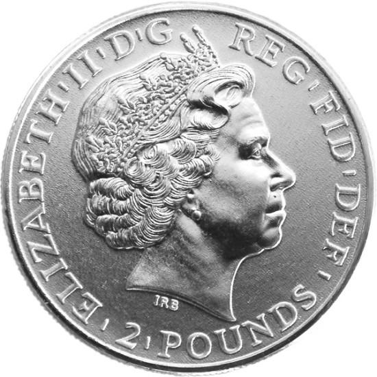 Foto der Rückseite einer Britannia Eagle Silbermünze