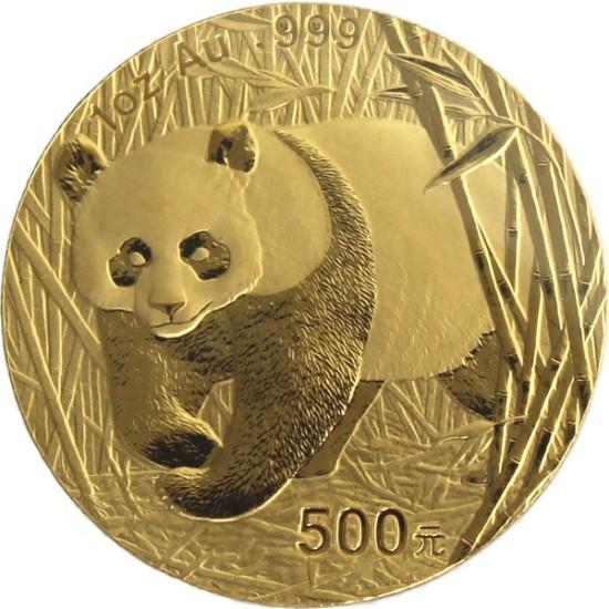 Foto der Vorderseite einer China Panda Goldmünze