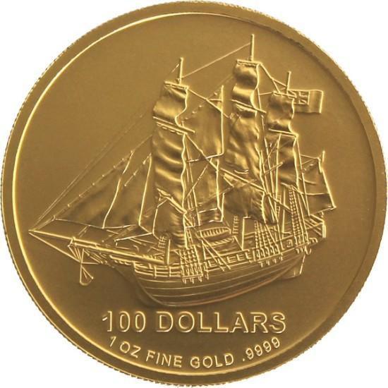 Foto der Vorderseite einer Cook Islands Goldmünze