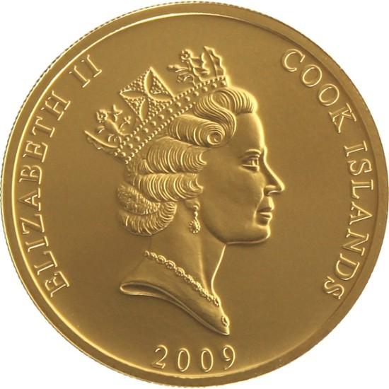 Foto der Rückseite einer Cook Islands Goldmünze