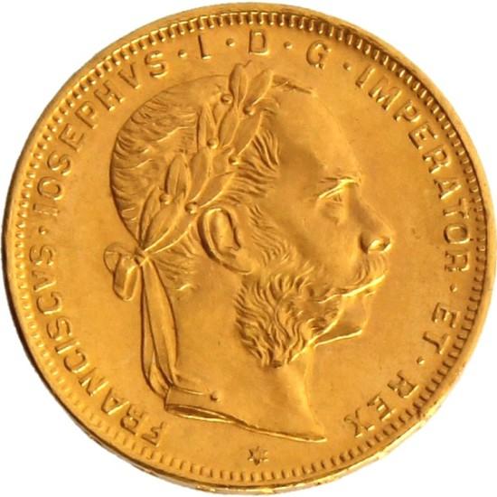 Foto der Vorderseite einer österreichischen Gulden Goldmünze