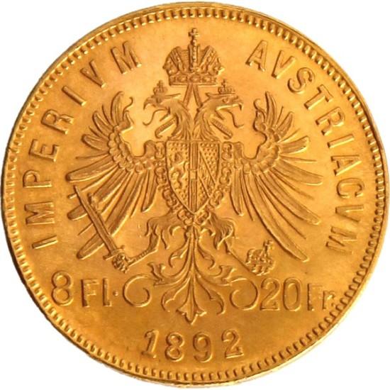 Foto der Rückseite einer österreichischen Gulden Goldmünze