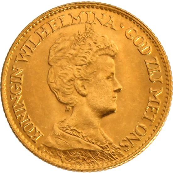 Foto der Vorderseite einer holländischen Gulden Goldmünze