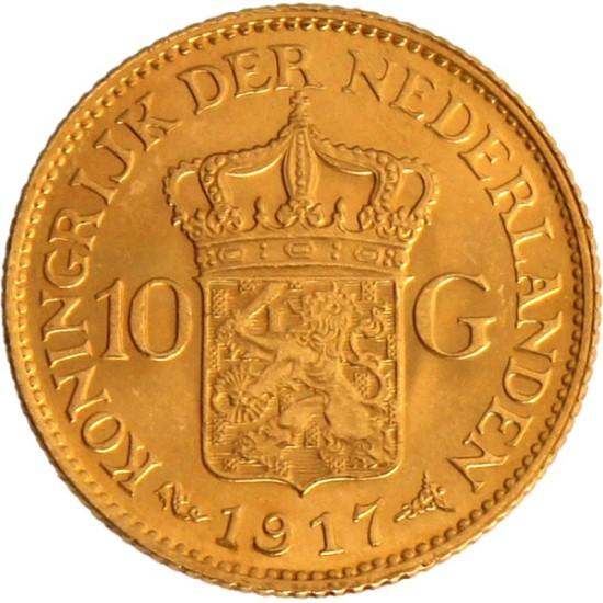 Foto der Rückseite einer holländischen Gulden Goldmünze