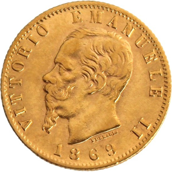 Foto der Vorderseite einer italienischen Lira Goldmünze