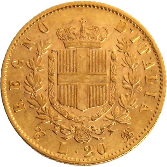 Foto der Rückseite einer italienischen Lira Goldmünze