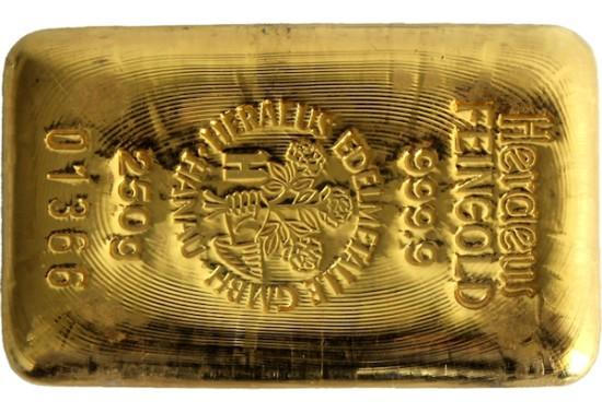 Foto der Rückseite eines Goldbarren