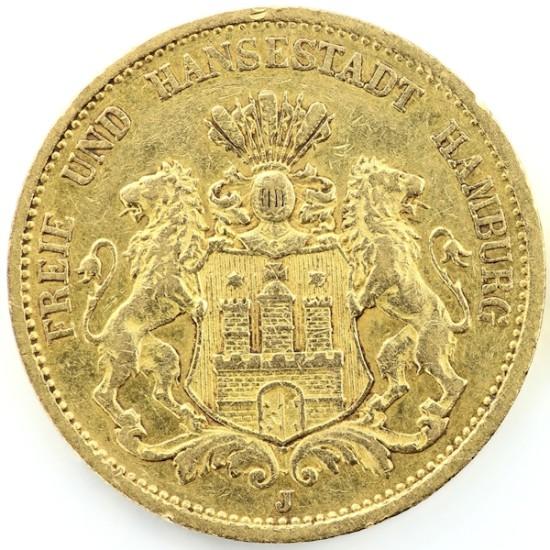Foto der Vorderseite einer Goldmark Deutsches Kaiserreich