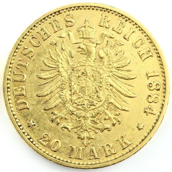 Foto der Rückseite einer Goldmark Deutsches Kaiserreich