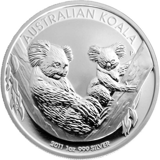Foto der Vorderseite einer Koala Silbermünze