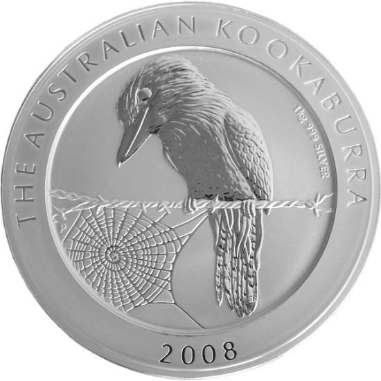 Foto der Vorderseite einer Kookaburra Silbermünze