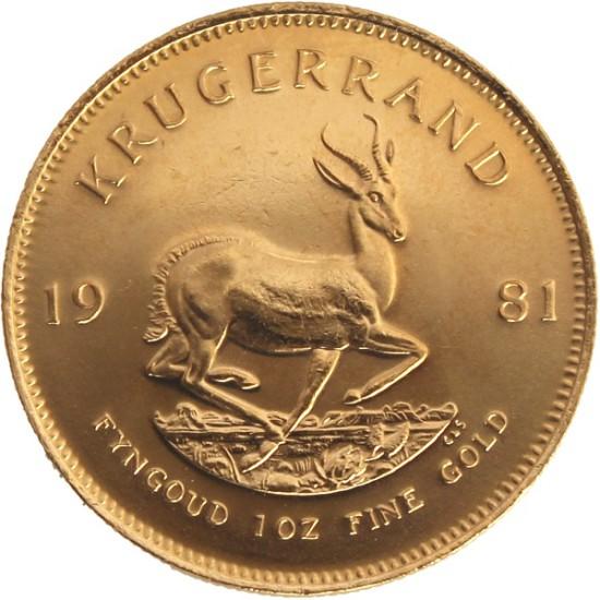 Foto der Rückseite einer Krügerrand Goldmünze