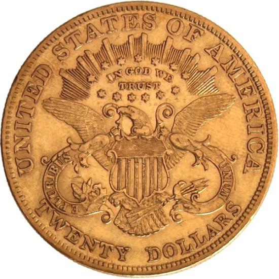 Foto der Rückseite einer Liberty Kopf Goldmünze