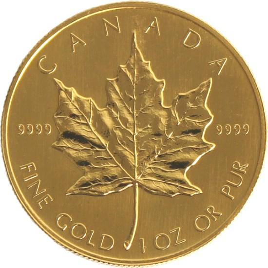 Foto der Vorderseite einer Maple Leaf Goldmünze