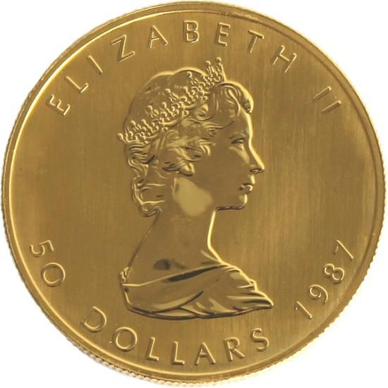 Foto der Rückseite einer Maple Leaf Goldmünze