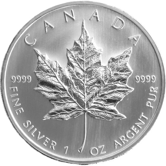Foto der Vorderseite einer Maple Leaf Silbermünze