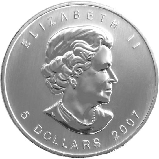Foto der Rückseite einer Maple Leaf Silbermünze