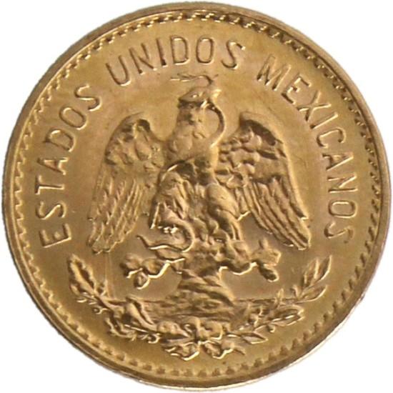Foto der Vorderseite einer mexikanischen Pesos Hidalgo Goldmünze