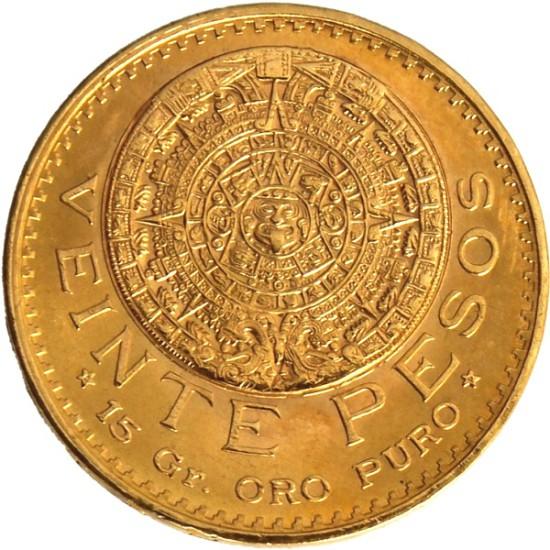 Foto der Vorderseite einer mexikanischen Pesos Azteca Goldmünze