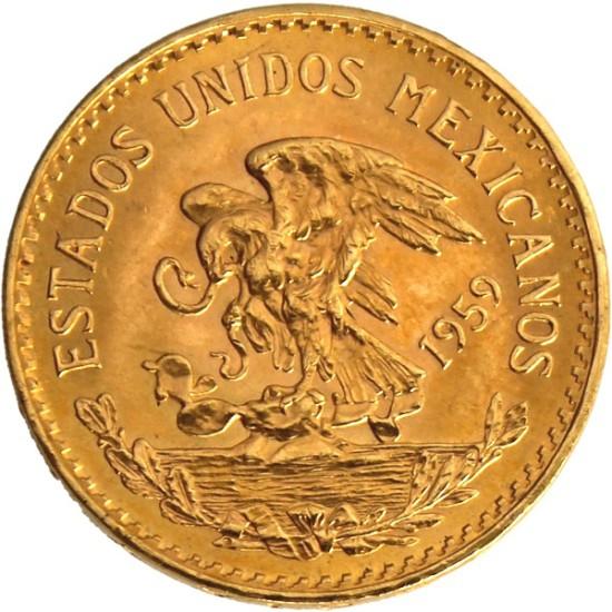 Foto der Rückseite einer mexikanischen Pesos Azteca Goldmünze