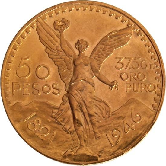 Foto der Vorderseite einer mexikanischen Pesos Centenario Goldmünze