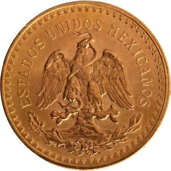 Foto der Rückseite einer mexikanischen Pesos Centenario Goldmünze