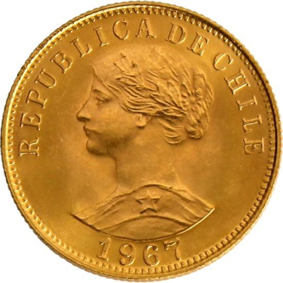 Foto der Vorderseite einer Pesos Chile Goldmünze