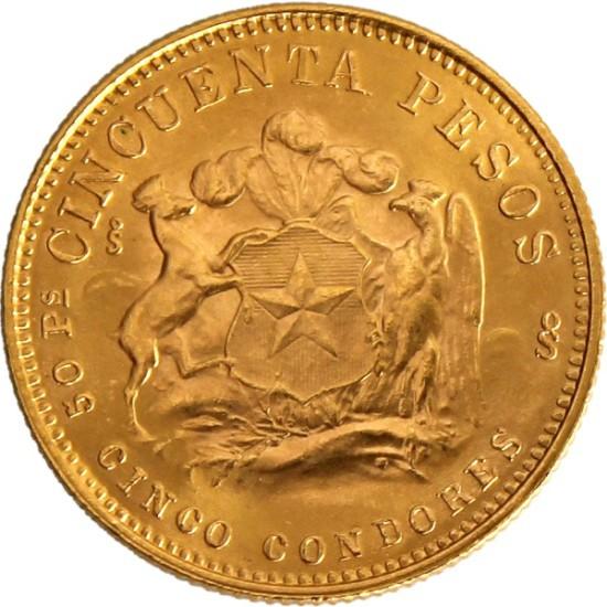 Foto der Rückseite einer Pesos Chile Goldmünze