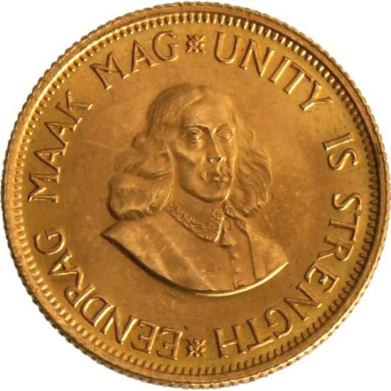 Foto der Vorderseite einer südafrikanischen Rand Goldmünze