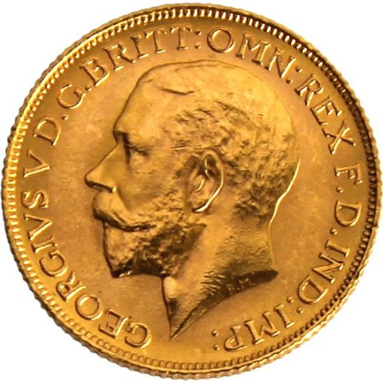 Foto der Vorderseite einer Sovereign Goldmünze