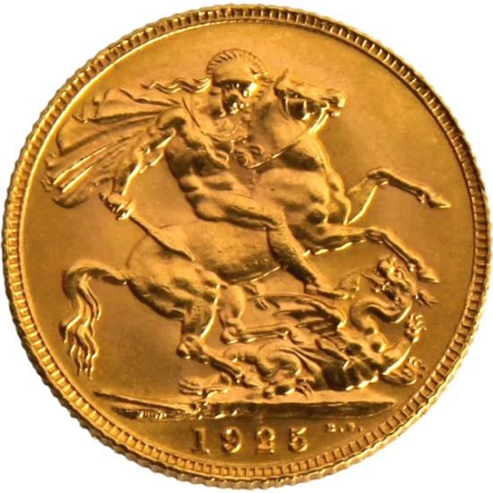 Foto der Rückseite einer Sovereign Goldmünze