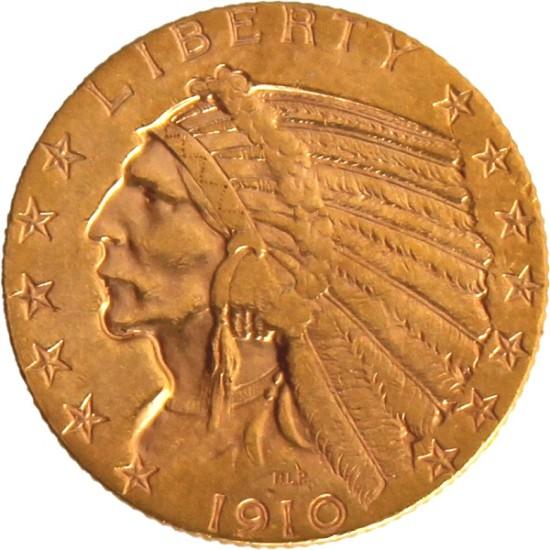 Foto der Vorderseite einer USD Indianer Goldmünze