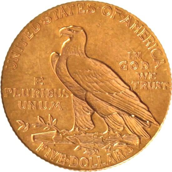 Foto der Rückseite einer USD Indianer Goldmünze