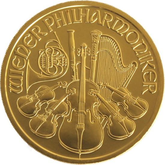 Foto der Vorderseite einer Wiener Philharmoniker Goldmünze