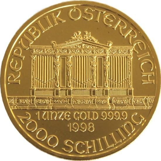 Foto der Rückseite einer Wiener Philharmoniker Goldmünze
