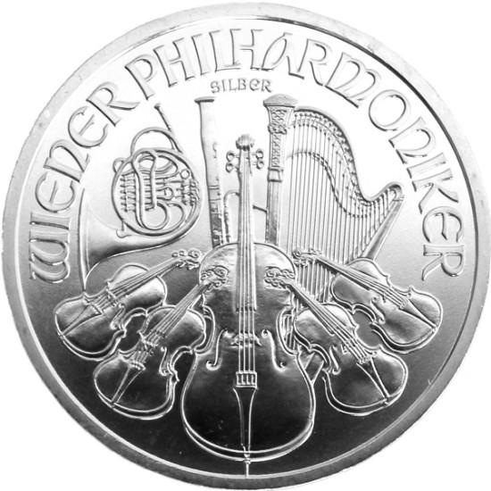 Foto der Vorderseite einer Wiener Philharmoniker Silbermünze